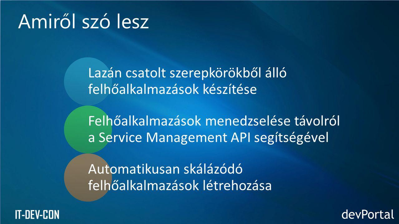 IT-DEV-CON Lazán csatolt szerepkörökből álló felhőalkalmazások készítése Felhőalkalmazások menedzselése távolról a Service Management API segítségével Automatikusan skálázódó felhőalkalmazások létrehozása Amiről szó lesz