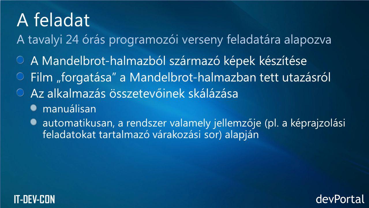 """IT-DEV-CON A Mandelbrot-halmazból származó képek készítése Film """"forgatása a Mandelbrot-halmazban tett utazásról Az alkalmazás összetevőinek skálázása manuálisan automatikusan, a rendszer valamely jellemzője (pl."""