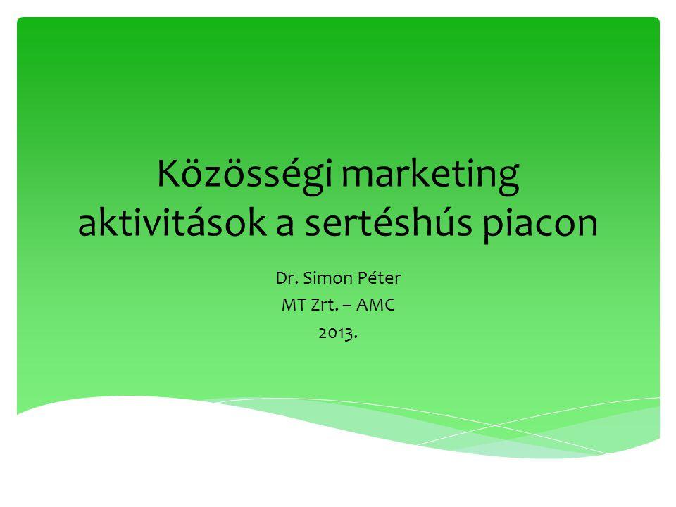 Közösségi marketing aktivitások a sertéshús piacon Dr. Simon Péter MT Zrt. – AMC 2013.