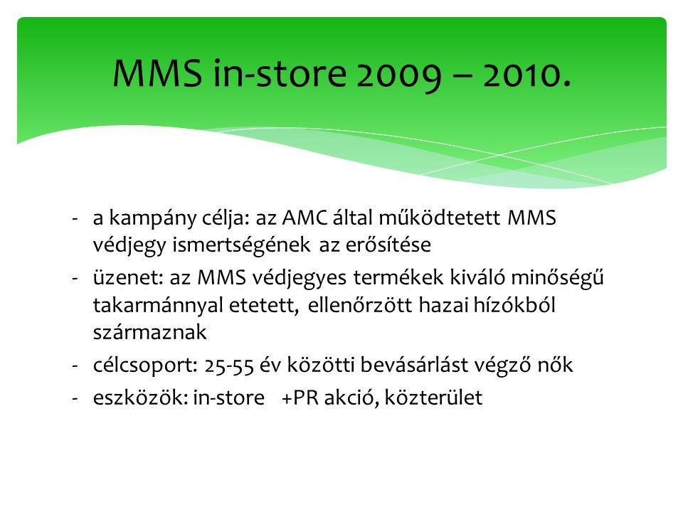 ‐a kampány célja: az AMC által működtetett MMS védjegy ismertségének az erősítése ‐üzenet: az MMS védjegyes termékek kiváló minőségű takarmánnyal etetett, ellenőrzött hazai hízókból származnak ‐célcsoport: 25-55 év közötti bevásárlást végző nők ‐eszközök: in-store +PR akció, közterület MMS in-store 2009 – 2010.