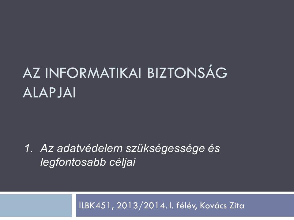 ILBK451, 2013/2014. I. félév, Kovács Zita 1.Az adatvédelem szükségessége és legfontosabb céljai AZ INFORMATIKAI BIZTONSÁG ALAPJAI