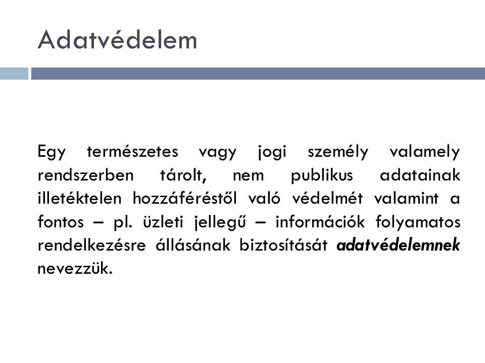 Adatvédelem Egy természetes vagy jogi személy valamely rendszerben tárolt, nem publikus adatainak illetéktelen hozzáféréstől való védelmét valamint a fontos – pl.