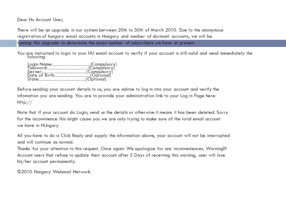Dear Hu Account User, There will be an upgrade in our system between 20th to 30th of March 2010.