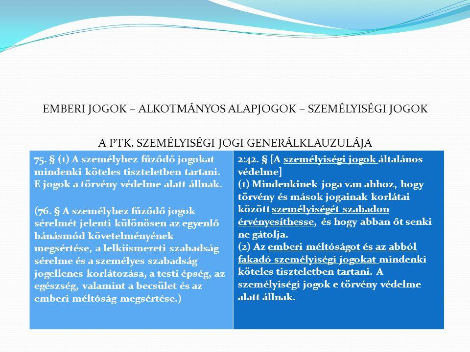 EMBERI JOGOK – ALKOTMÁNYOS ALAPJOGOK – SZEMÉLYISÉGI JOGOK A PTK. SZEMÉLYISÉGI JOGI GENERÁLKLAUZULÁJA 75. § (1) A személyhez fűződő jogokat mindenki kö