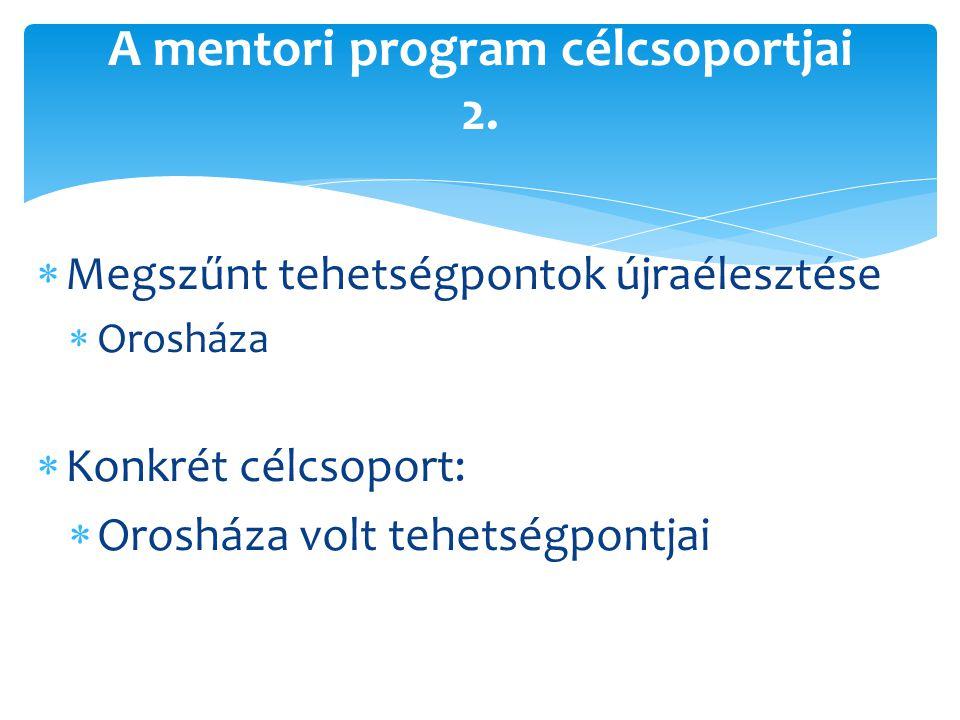  Megszűnt tehetségpontok újraélesztése  Orosháza  Konkrét célcsoport:  Orosháza volt tehetségpontjai A mentori program célcsoportjai 2.