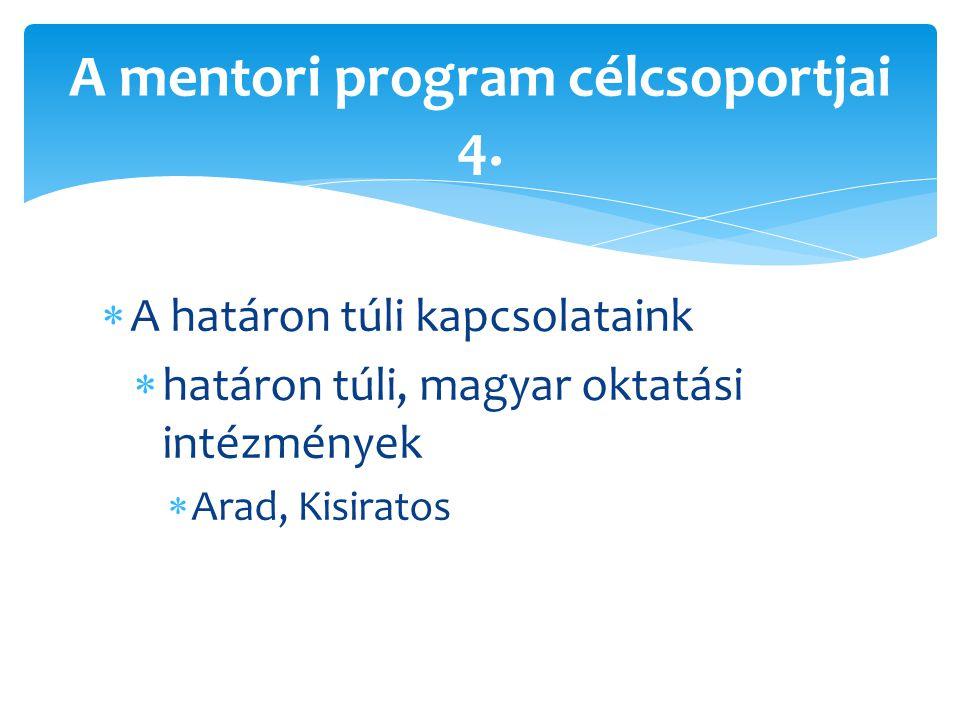  A határon túli kapcsolataink  határon túli, magyar oktatási intézmények  Arad, Kisiratos A mentori program célcsoportjai 4.