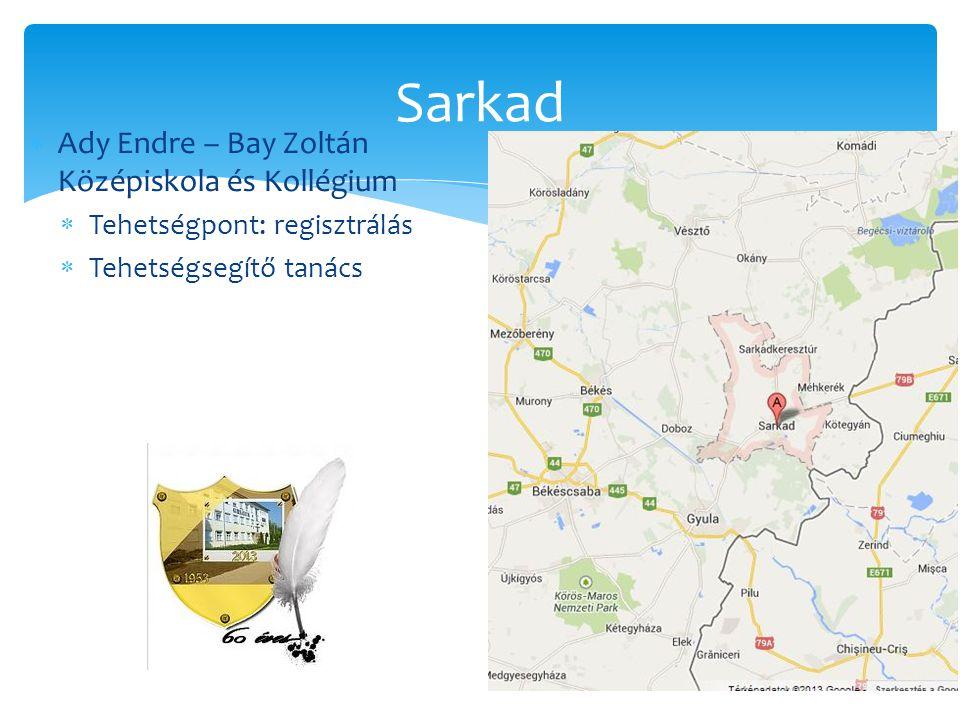  Ady Endre – Bay Zoltán Középiskola és Kollégium  Tehetségpont: regisztrálás  Tehetségsegítő tanács Sarkad