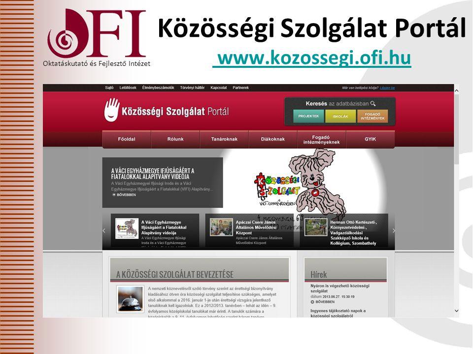 Oktatáskutató és Fejlesztő Intézet Közösségi Szolgálat Portál www.kozossegi.ofi.hu www.kozossegi.ofi.hu