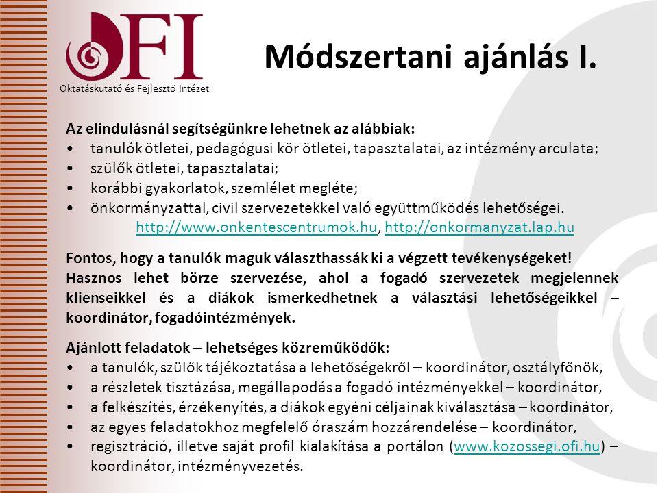Oktatáskutató és Fejlesztő Intézet Módszertani ajánlás I.