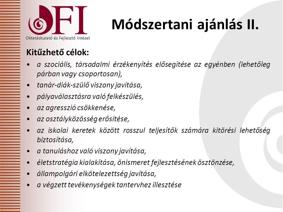 Oktatáskutató és Fejlesztő Intézet Módszertani ajánlás II.