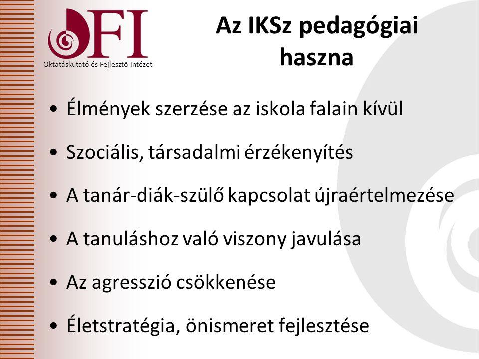 Oktatáskutató és Fejlesztő Intézet Az IKSz pedagógiai haszna •Élmények szerzése az iskola falain kívül •Szociális, társadalmi érzékenyítés •A tanár-diák-szülő kapcsolat újraértelmezése •A tanuláshoz való viszony javulása •Az agresszió csökkenése •Életstratégia, önismeret fejlesztése