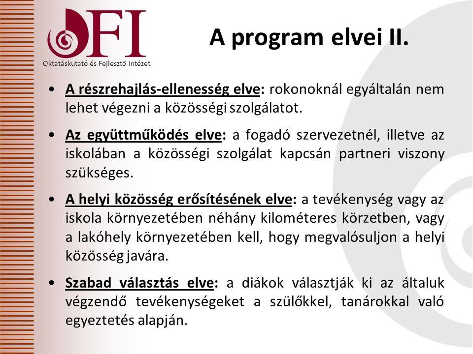 Oktatáskutató és Fejlesztő Intézet A program elvei II.