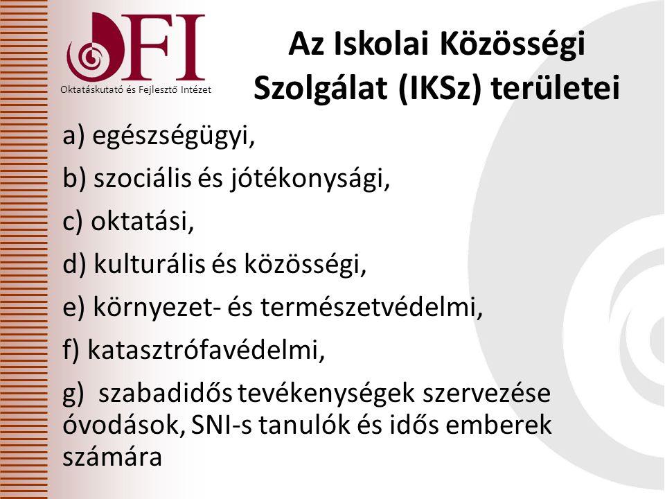Oktatáskutató és Fejlesztő Intézet Az Iskolai Közösségi Szolgálat (IKSz) területei a) egészségügyi, b) szociális és jótékonysági, c) oktatási, d) kulturális és közösségi, e) környezet- és természetvédelmi, f) katasztrófavédelmi, g) szabadidős tevékenységek szervezése óvodások, SNI-s tanulók és idős emberek számára
