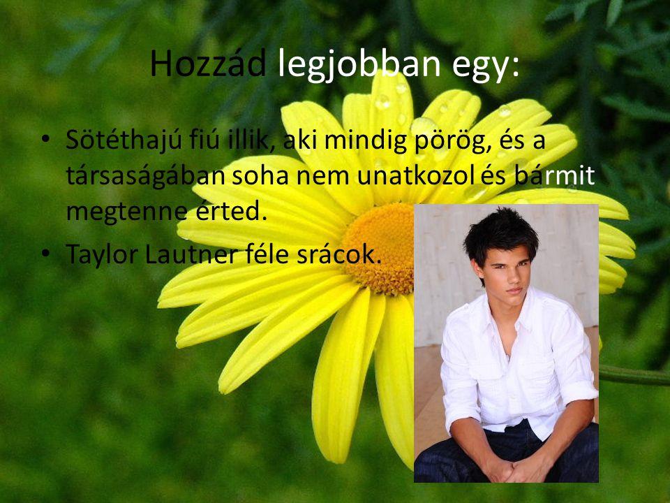 Hozzád legjobban egy: • Sötéthajú fiú illik, aki mindig pörög, és a társaságában soha nem unatkozol és bármit megtenne érted. • Taylor Lautner féle sr