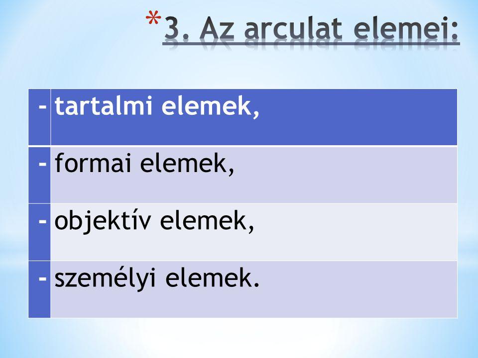 -tartalmi elemek, -formai elemek, -objektív elemek, -személyi elemek.