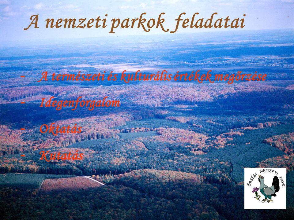 - A természeti és kulturális értékek megőrzése - Idegenforgalom - Oktatás - Kutatás A nemzeti parkok feladatai