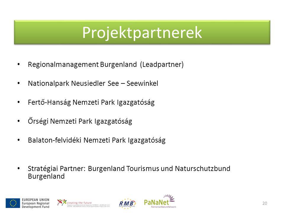Projektpartnerek • Regionalmanagement Burgenland (Leadpartner) • Nationalpark Neusiedler See – Seewinkel • Fertő-Hanság Nemzeti Park Igazgatóság • Őrségi Nemzeti Park Igazgatóság • Balaton-felvidéki Nemzeti Park Igazgatóság • Stratégiai Partner: Burgenland Tourismus und Naturschutzbund Burgenland 20