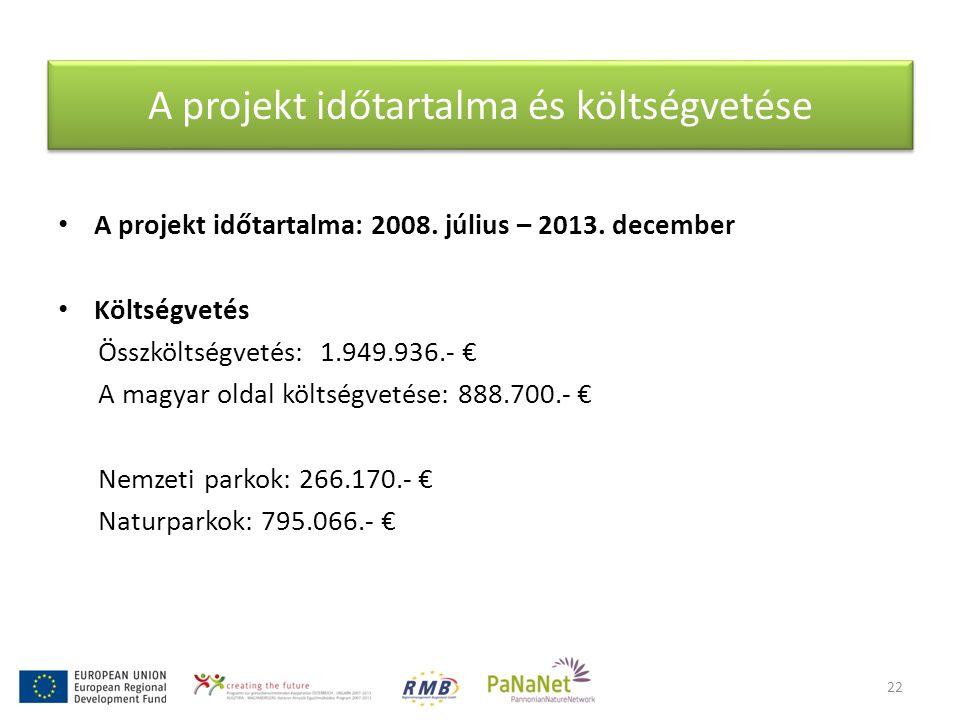 A projekt időtartalma és költségvetése • A projekt időtartalma: 2008. július – 2013. december • Költségvetés Összköltségvetés: 1.949.936.- € A magyar