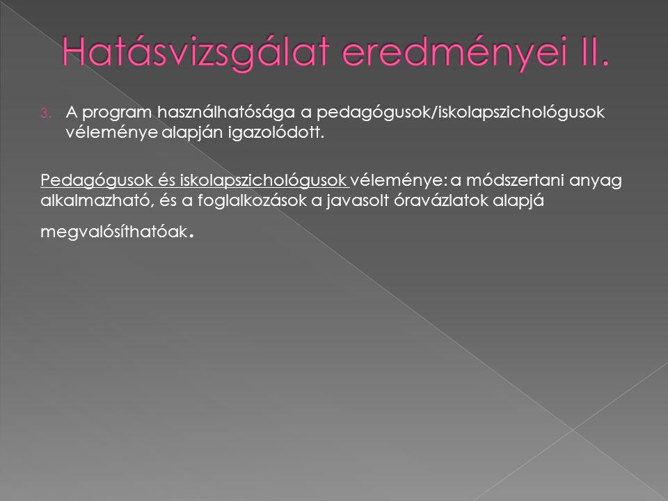 3.A program használhatósága a pedagógusok/iskolapszichológusok véleménye alapján igazolódott.