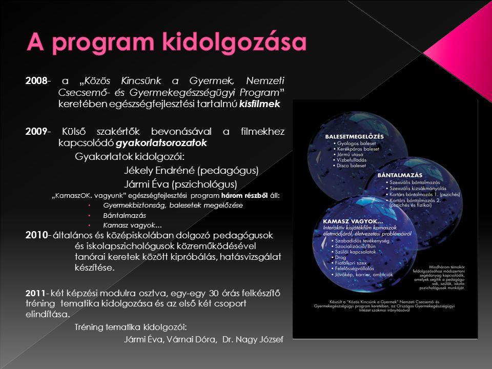 """2008 - a """"Közös Kincsünk a Gyermek, Nemzeti Csecsemő- és Gyermekegészségügyi Program keretében egészségfejlesztési tartalmú kisfilmek 2009 - Külső szakértők bevonásával a filmekhez kapcsolódó gyakorlatsorozatok Gyakorlatok kidolgozói: Jékely Endréné (pedagógus) Jármi Éva (pszichológus) """"KamaszOK."""