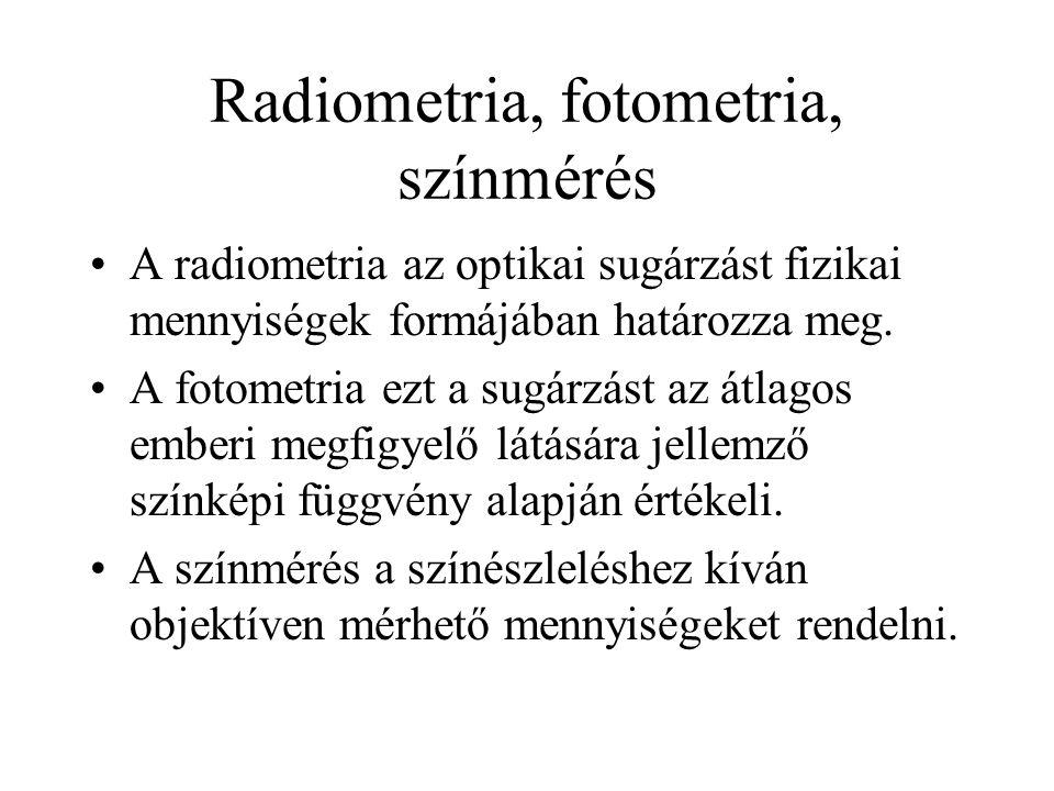 Radiometria, fotometria, színmérés •A radiometria az optikai sugárzást fizikai mennyiségek formájában határozza meg. •A fotometria ezt a sugárzást az