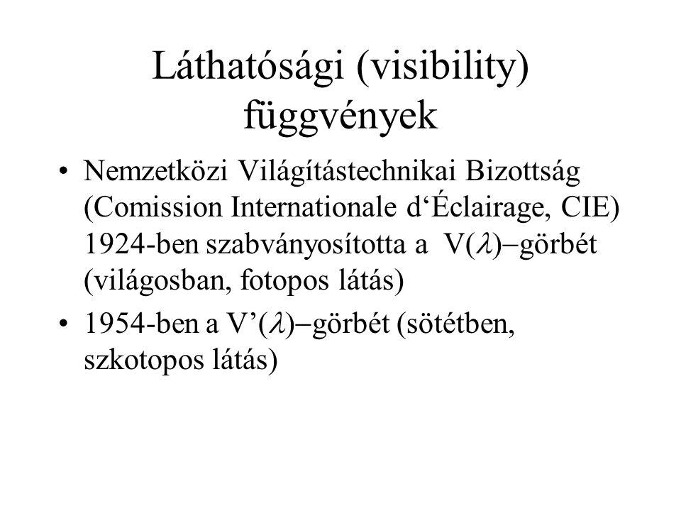 Láthatósági (visibility) függvények •Nemzetközi Világítástechnikai Bizottság (Comission Internationale d'Éclairage, CIE) 1924-ben szabványosította a V