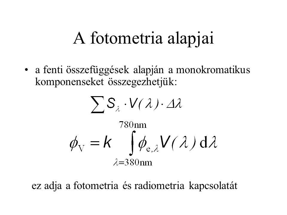 A fotometria alapjai •a fenti összefüggések alapján a monokromatikus komponenseket összegezhetjük: ez adja a fotometria és radiometria kapcsolatát