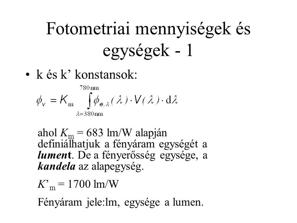 Fotometriai mennyiségek és egységek - 1 •k és k' konstansok: ahol K m = 683 lm/W alapján definiálhatjuk a fényáram egységét a lument. De a fényerősség