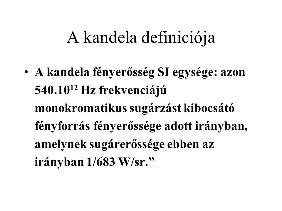 A kandela definiciója •A kandela fényerősség SI egysége: azon 540.10 12 Hz frekvenciájú monokromatikus sugárzást kibocsátó fényforrás fényerőssége ado