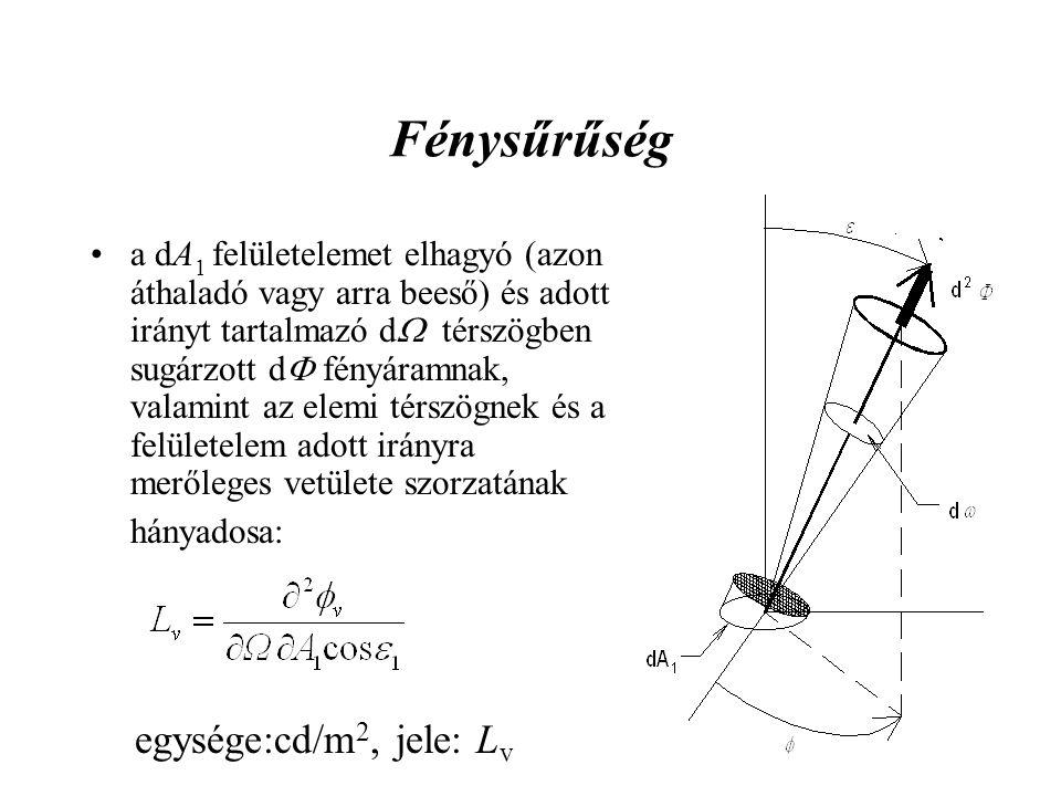 Fénysűrűség •a dA 1 felületelemet elhagyó (azon áthaladó vagy arra beeső) és adott irányt tartalmazó d  térszögben sugárzott d  fényáramnak, valamin