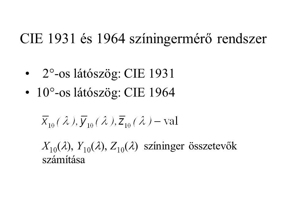 CIE 1931 és 1964 színingermérő rendszer • 2°-os látószög: CIE 1931 •10°-os látószög: CIE 1964 X 10 (  ), Y 10 (  ), Z 10 (  ) színinger összetevők