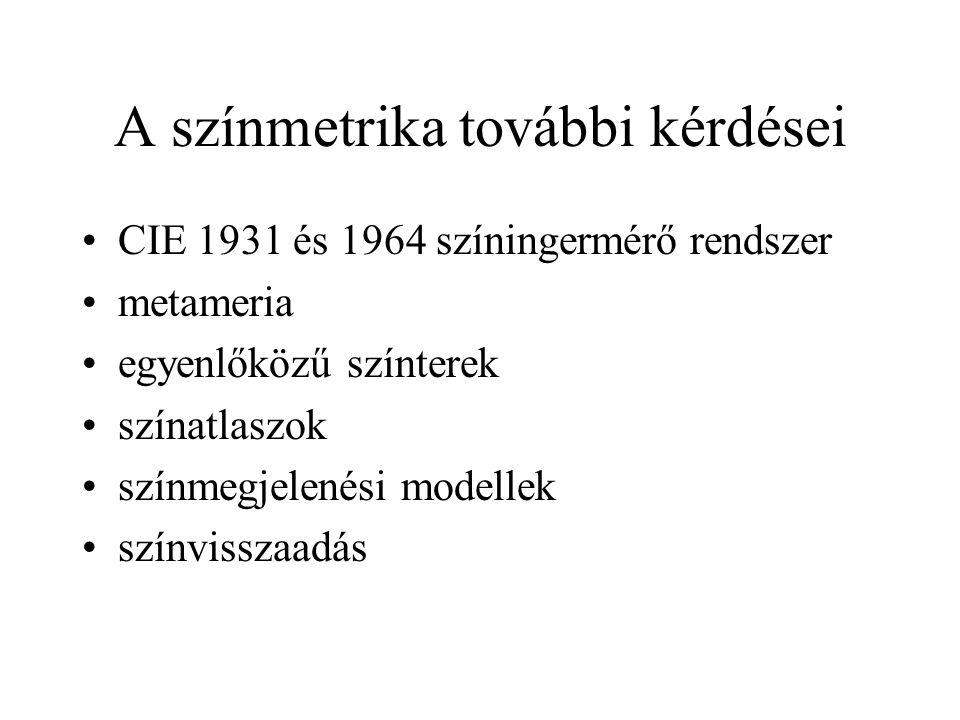 A színmetrika további kérdései •CIE 1931 és 1964 színingermérő rendszer •metameria •egyenlőközű színterek •színatlaszok •színmegjelenési modellek •szí