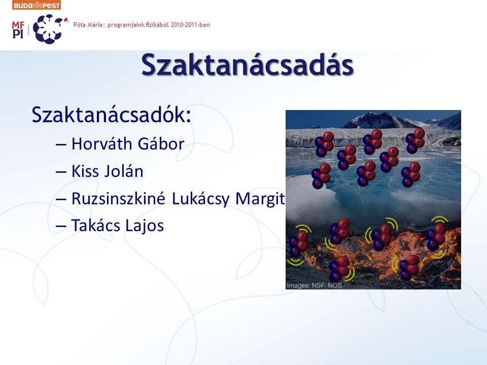 Szaktanácsadás Szaktanácsadók: – Horváth Gábor – Kiss Jolán – Ruzsinszkiné Lukácsy Margit – Takács Lajos Póta Mária| programjaink fizikából 2010-2011-