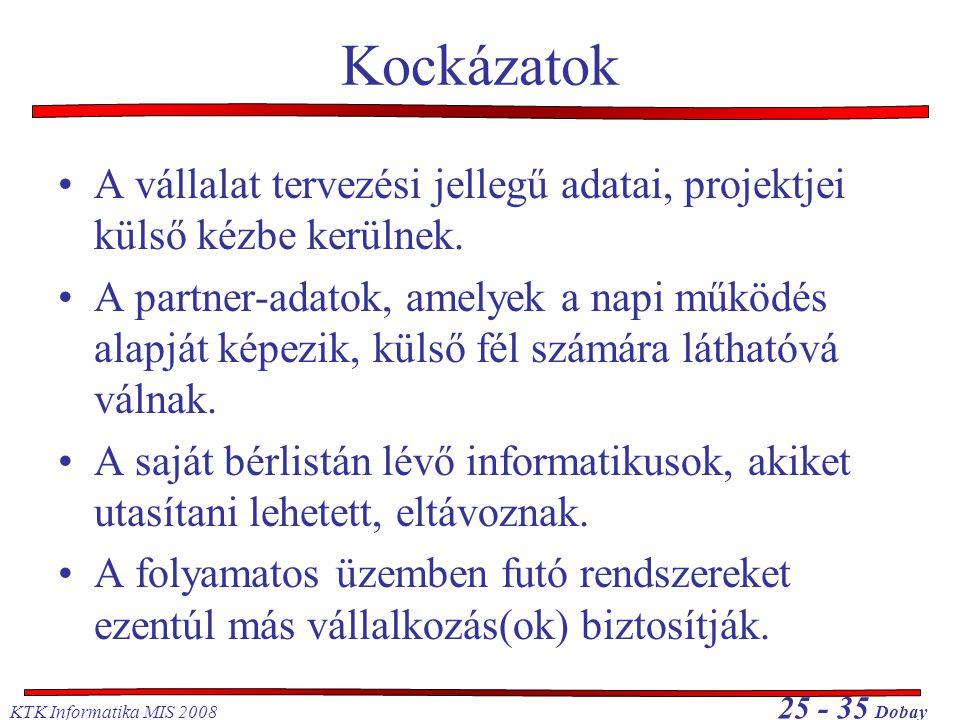 KTK Informatika MIS 2008 25 - 35 Dobay Kockázatok •A vállalat tervezési jellegű adatai, projektjei külső kézbe kerülnek. •A partner-adatok, amelyek a
