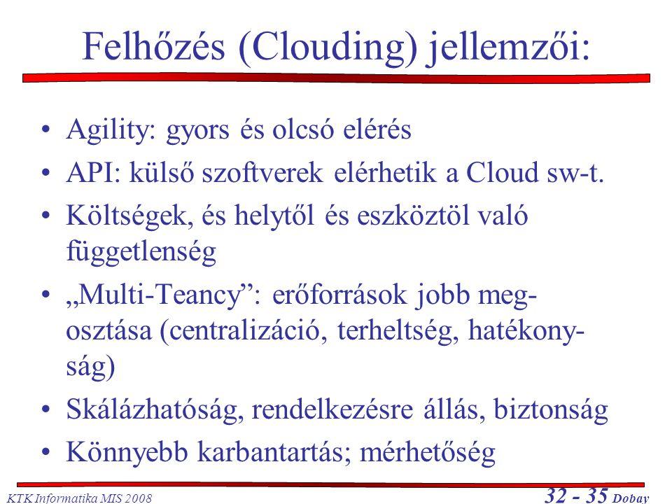 KTK Informatika MIS 2008 32 - 35 Dobay Felhőzés (Clouding) jellemzői: •Agility: gyors és olcsó elérés •API: külső szoftverek elérhetik a Cloud sw-t. •