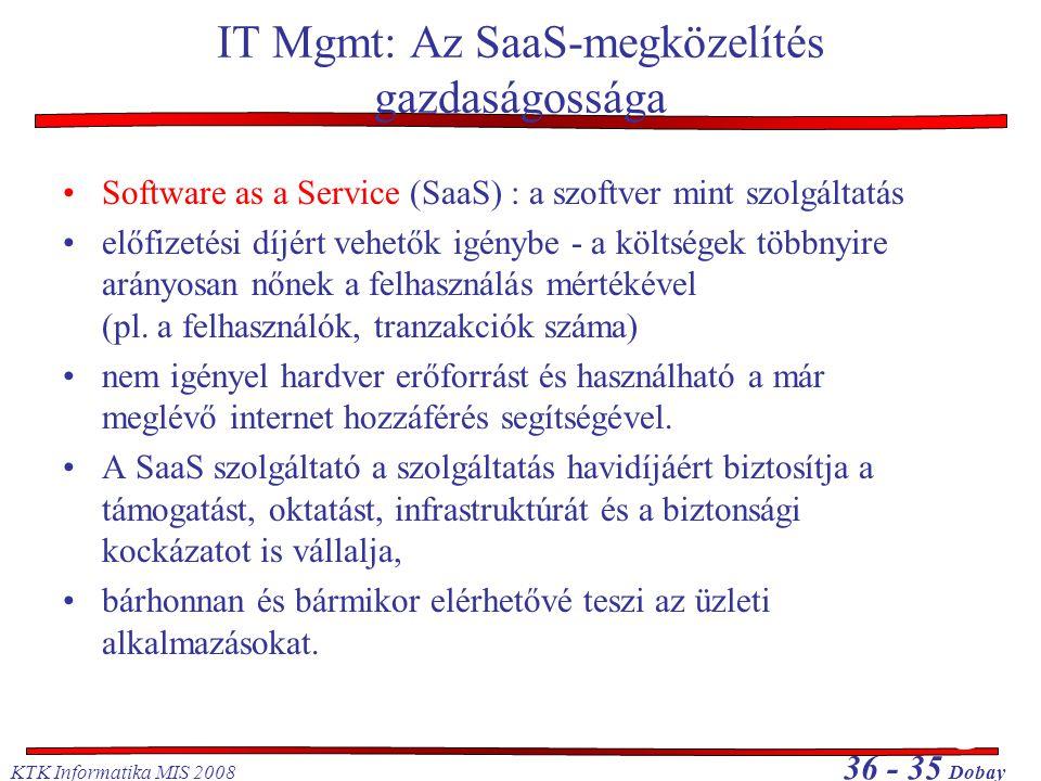 KTK Informatika MIS 2008 36 - 35 Dobay IT Mgmt: Az SaaS-megközelítés gazdaságossága •Software as a Service (SaaS) : a szoftver mint szolgáltatás •előf