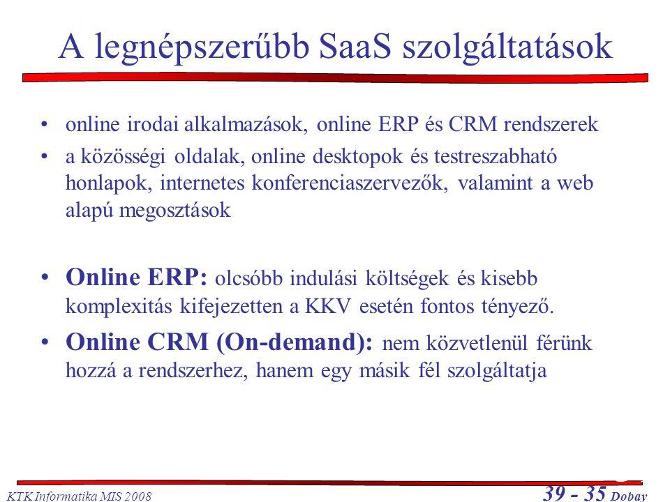 KTK Informatika MIS 2008 39 - 35 Dobay A legnépszerűbb SaaS szolgáltatások •online irodai alkalmazások, online ERP és CRM rendszerek •a közösségi olda
