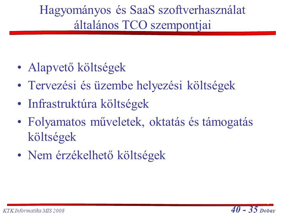 KTK Informatika MIS 2008 40 - 35 Dobay Hagyományos és SaaS szoftverhasználat általános TCO szempontjai •Alapvető költségek •Tervezési és üzembe helyez