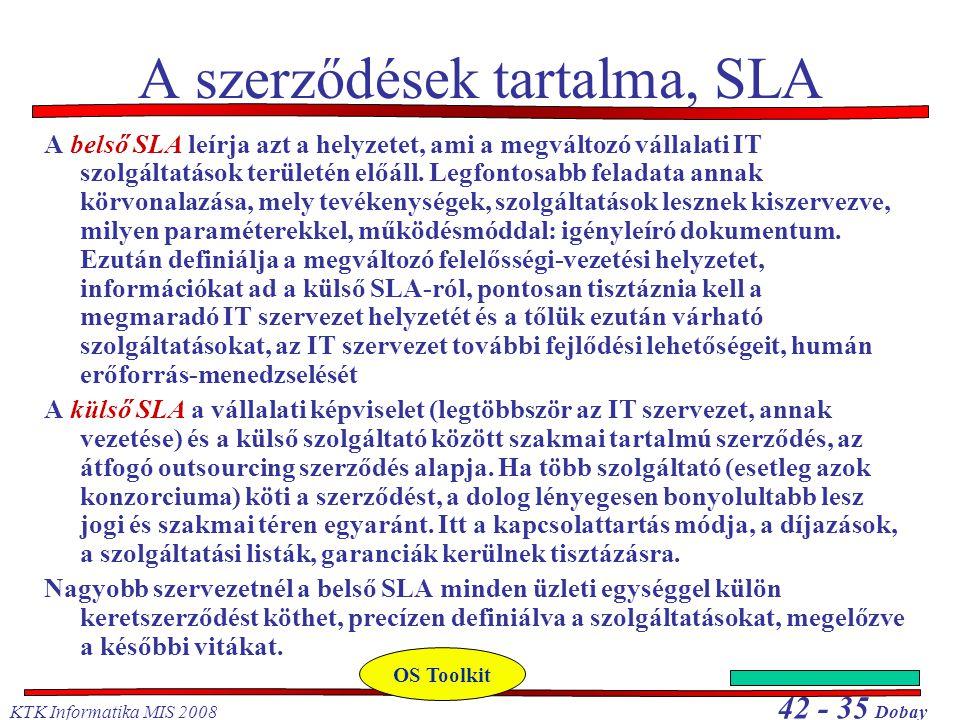 KTK Informatika MIS 2008 42 - 35 Dobay A szerződések tartalma, SLA A belső SLA leírja azt a helyzetet, ami a megváltozó vállalati IT szolgáltatások te