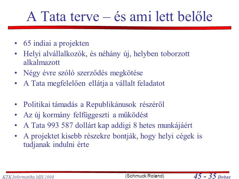 KTK Informatika MIS 2008 45 - 35 Dobay A Tata terve – és ami lett belőle •65 indiai a projekten •Helyi alvállalkozók, és néhány új, helyben toborzott