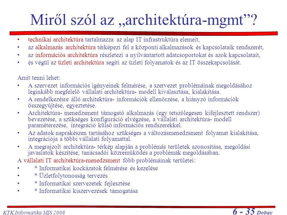 """KTK Informatika MIS 2008 6 - 35 Dobay Miről szól az """"architektúra-mgmt""""? •technikai architektúra tartalmazza az alap IT infrastruktúra elemeit, •az al"""