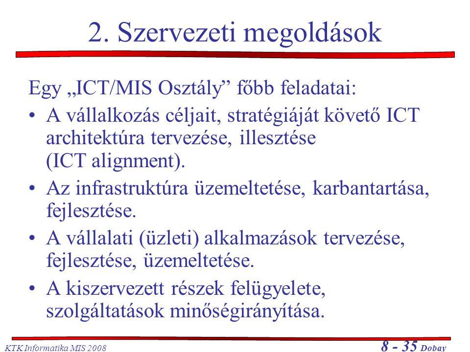 """KTK Informatika MIS 2008 8 - 35 Dobay 2. Szervezeti megoldások Egy """"ICT/MIS Osztály"""" főbb feladatai: •A vállalkozás céljait, stratégiáját követő ICT a"""