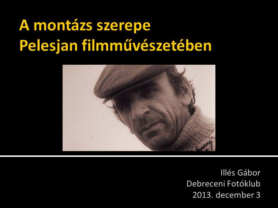 Illés Gábor, Debreceni Fotóklub  Bevezető, rövid életrajz, filmográfia (5 perc)  Távmontázs-elv (5 perc)  Film: A kezdet (9 perc)  Fim: Mi (10 perc a 23-ból)  Film: Évszakok (28 perc)  Idézetek (5 perc)  Film: Élet (7 perc)  Film: A vég (8 perc)  Beszélgetés 2013.