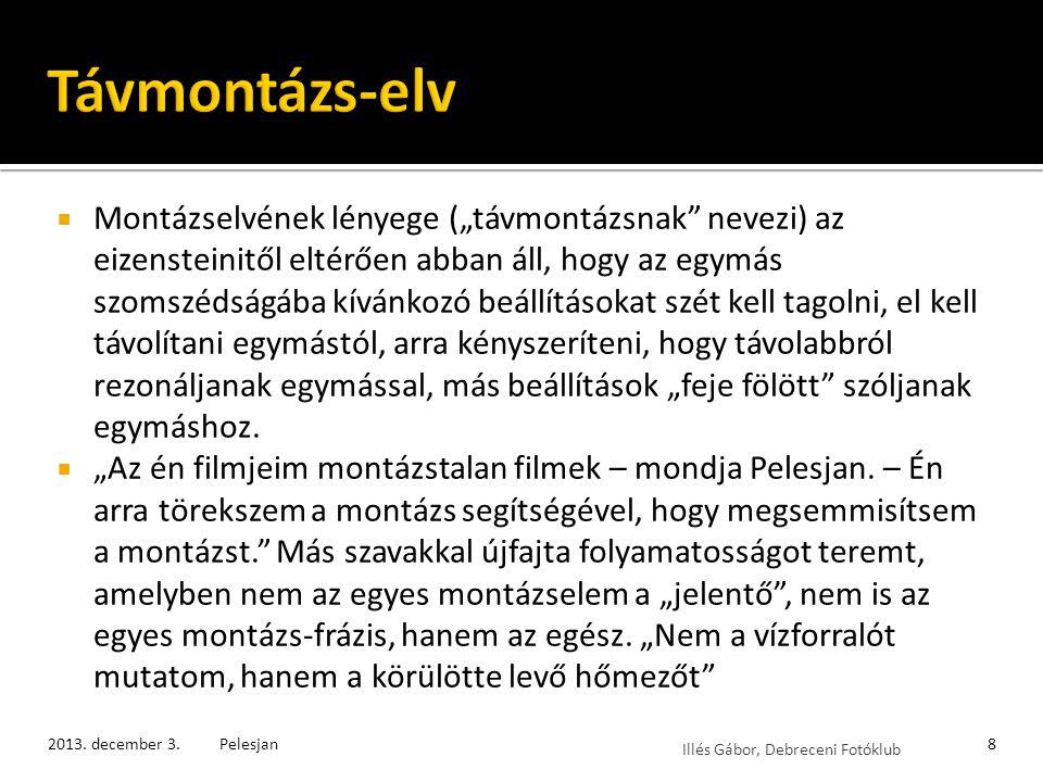 Illés Gábor, Debreceni Fotóklub Pelesjan második filmjét is még a neves moszkvai filmakadémia, a VGIK diákjaként készítette, de már megmutatkoznak benne az alkotó későbbi jellegzetes stílusjegyei.