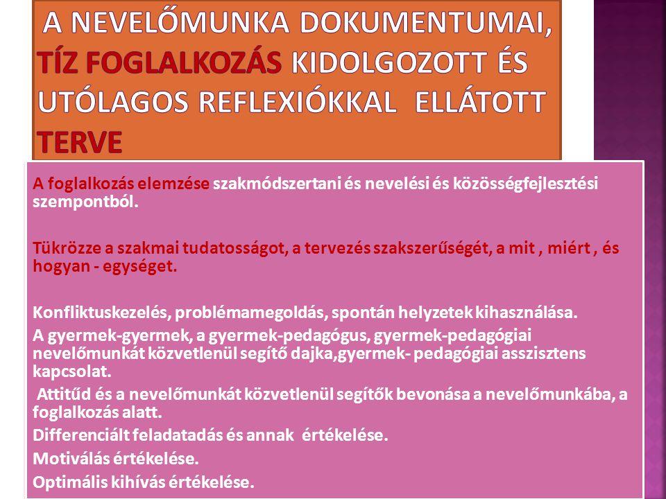 A foglalkozás elemzése szakmódszertani és nevelési és közösségfejlesztési szempontból. Tükrözze a szakmai tudatosságot, a tervezés szakszerűségét, a m