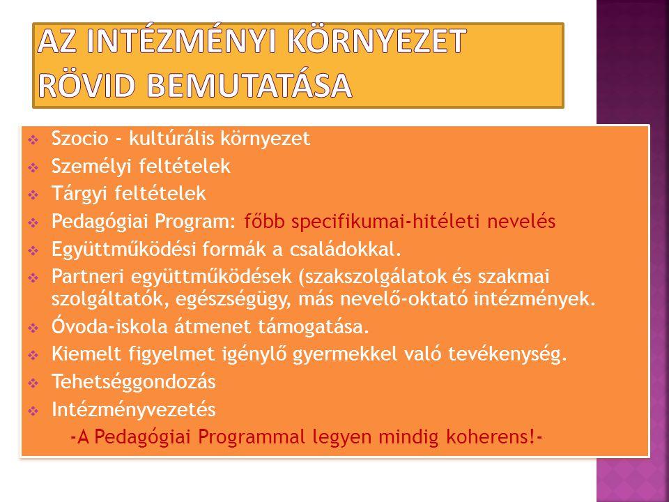  Szocio - kultúrális környezet  Személyi feltételek  Tárgyi feltételek  Pedagógiai Program: főbb specifikumai-hitéleti nevelés  Együttműködési fo