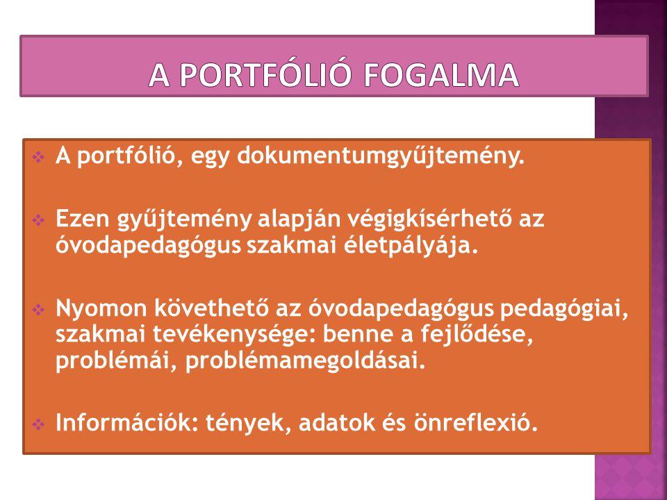  A portfólió, egy dokumentumgyűjtemény.  Ezen gyűjtemény alapján végigkísérhető az óvodapedagógus szakmai életpályája.  Nyomon követhető az óvodape