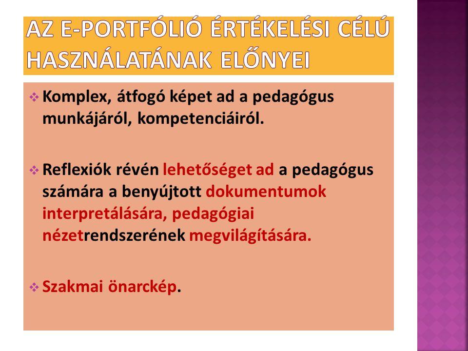  Komplex, átfogó képet ad a pedagógus munkájáról, kompetenciáiról.  Reflexiók révén lehetőséget ad a pedagógus számára a benyújtott dokumentumok int