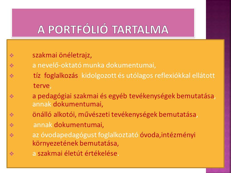  szakmai önéletrajz,  a nevelő-oktató munka dokumentumai,  tíz foglalkozás kidolgozott és utólagos reflexiókkal ellátott terve,  a pedagógiai szak