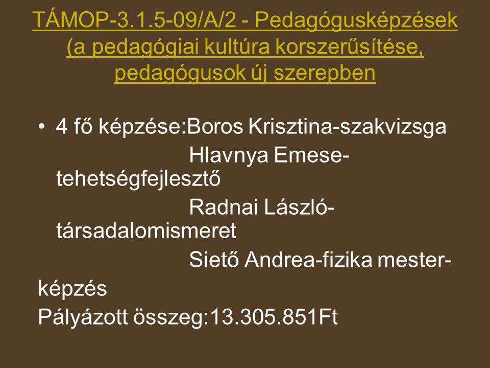 TÁMOP-3.1.5-09/A/2 - Pedagógusképzések (a pedagógiai kultúra korszerűsítése, pedagógusok új szerepben •4 fő képzése:Boros Krisztina-szakvizsga Hlavnya